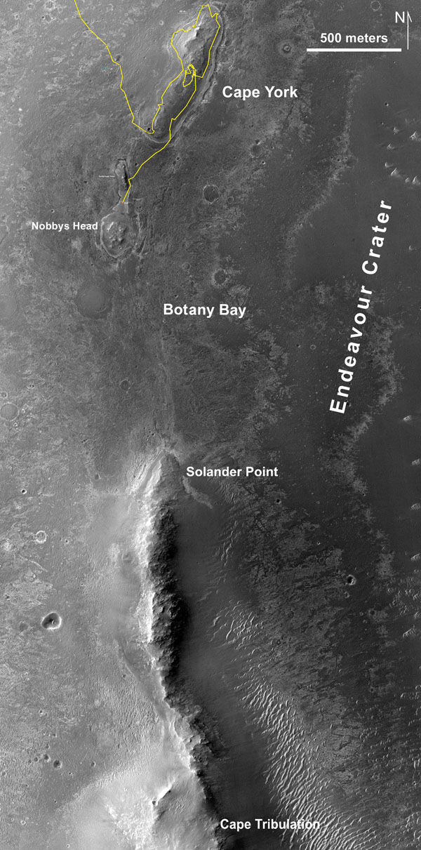 This map of a portion of the western rim of Endeavour Crater on Mars shows the path of NASA's Mars Exploration Rover Opportunity as the rover is driving from the 'Cape York' segment of the rim to its next destination, the 'Solander Point' segment.