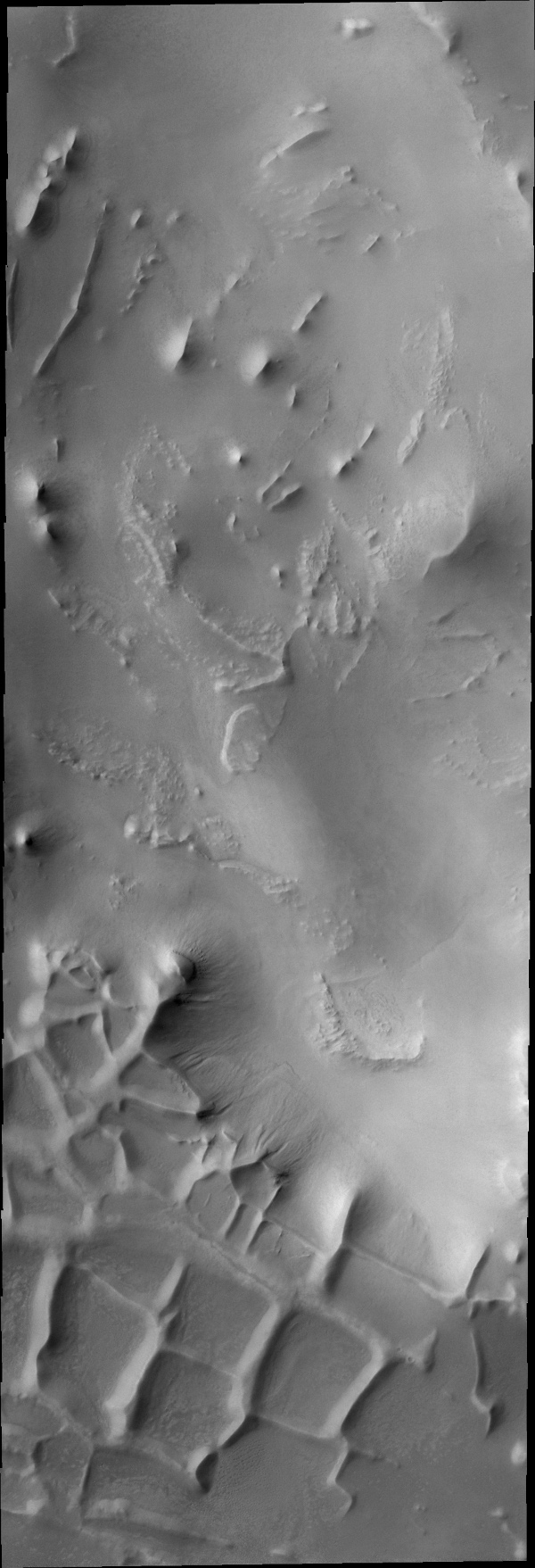 These ridges near the south polar cap are called Angustus Labyrinthus, as shown in this image captured by NASA's 2001 Mars Odyssey spacecraft.