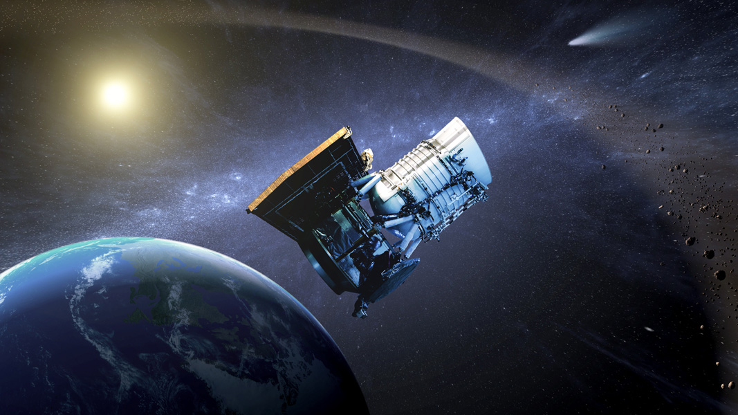 This artist's concept shows the NASA's WISE spacecraft, in its orbit around Earth. In September of 2013, engineers will attempt to bring the mission out of hibernation to hunt for more asteroids and comets in a project called NEOWISE.