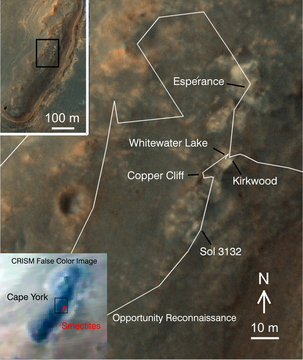 A region known as 'Cape York' on the western rim of Endeavour Crater, where the Opportunity rover worked for 20 months, is highlighted in these images from NASA's Mars Reconnaissance Orbiter.