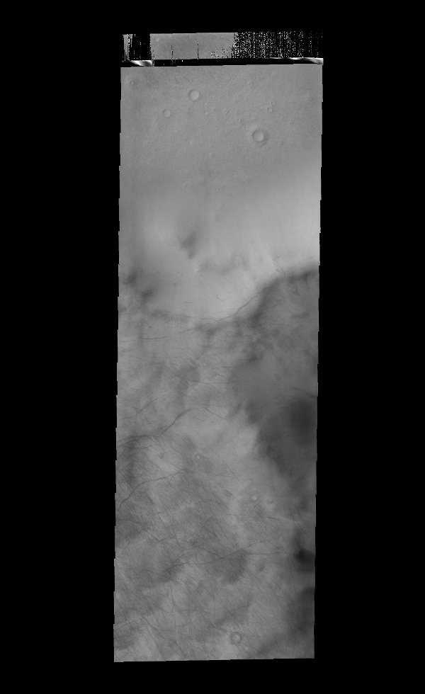This image captured by NASA's 2001 Mars Odyssey spacecraft show the tracks of dust devils on the rim of Stoney Crater.