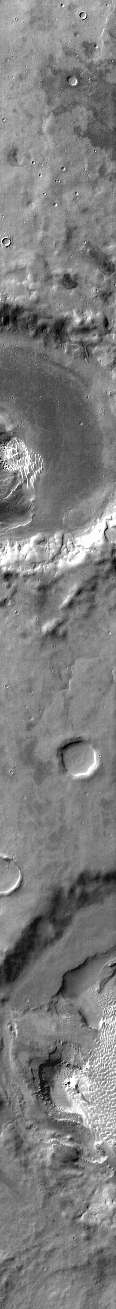 This infrared image from NASA's 2001 Mars Odyssey spacecraft shows part of the dune field on the floor of Rabe Crater. The dunes are 'brighter' than the surrounding material, indicating that they are warmer.