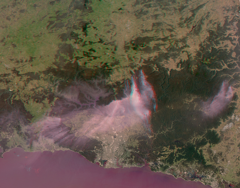 NASA's Terra spacecraft passed over the Blue Mountains to the west and north of Sydney, A mild winter and an extremely hot September in Australia have led to an early start to the fire season.