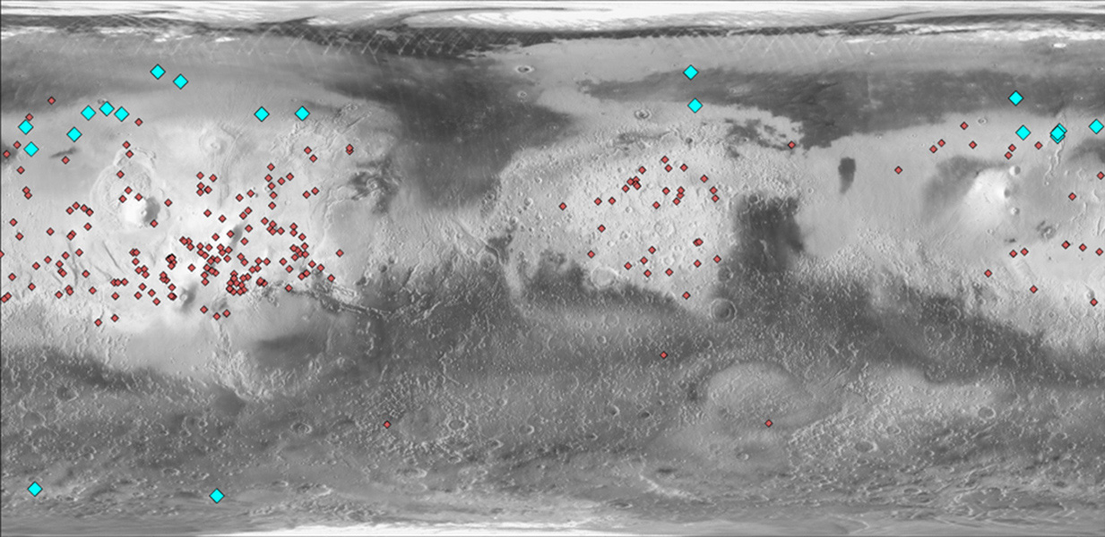 This map of Mars indicates locations of new craters that have excavated ice (blue) and those that have not (red). Albedo information comes from NASA's Mars Odyssey orbiter, and the map comes from NASA's Mars Global Surveyor orbiter.