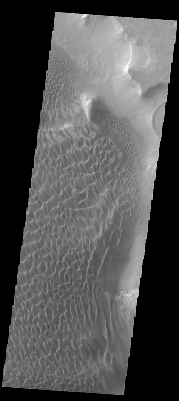 This image shows part of the sand sheet and dunes on the floor of Rabe Crater as seen by NASA's 2001 Mars Odyssey spacecraft.