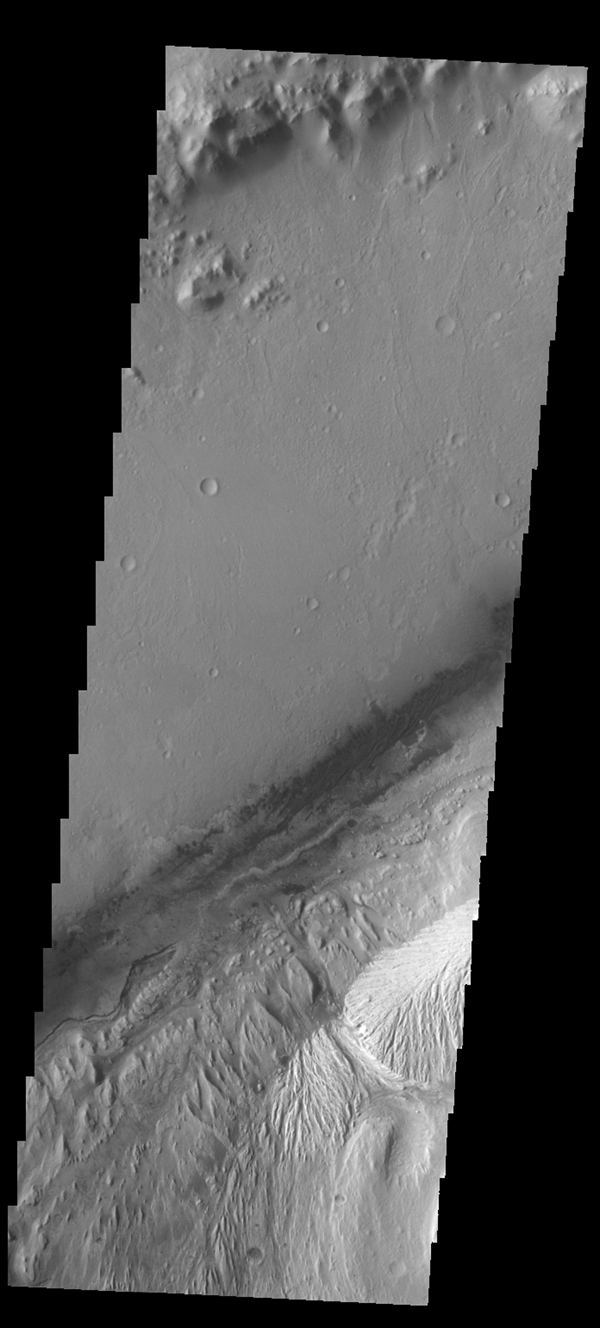 This image captured by NASA's 2001 Mars Odyssey spacecraft of Gale Crater shows the region of the crater that is 'home' to the Curiosity Rover.