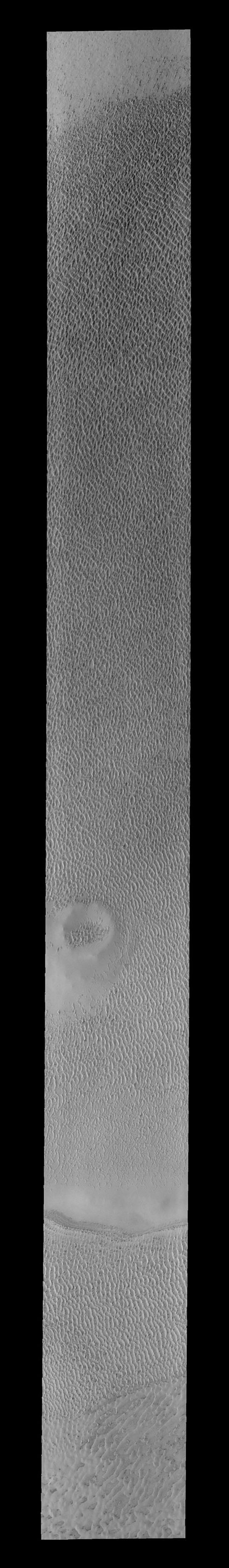 This image captured by NASA's 2001 Mars Odyssey spacecraft shows another portion of the large dune field near the north polar cap.