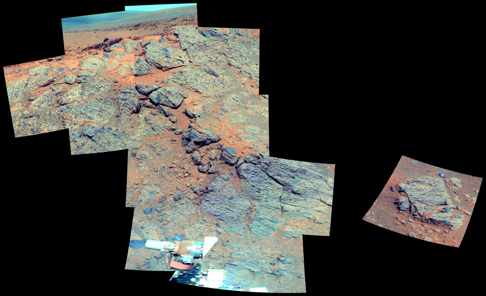 This false color image from NASA's Mars Exploration Rover Opportunity is of the outcrop on the 'Murray Ridge' portion of the rim of Endeavour Crater as the rover approached the 10th anniversary of its landing on Mars.
