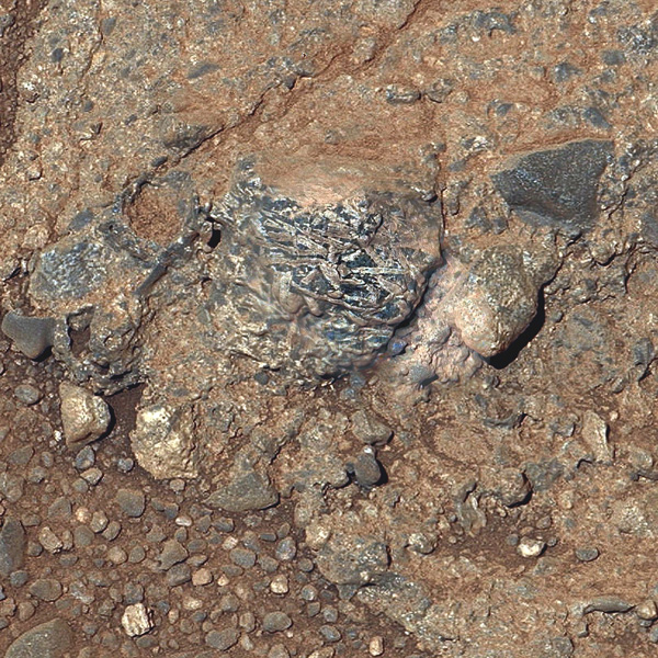 This view of a Martian rock target called /Harrison' merges images from two cameras onboard NASA's Curiosity Mars rover to provide both color and microscopic detail. The elongated crystals are likely feldspars, and the matrix is pyroxene-dominated.