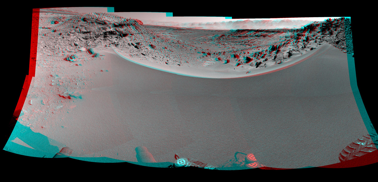 This stereo mosaic of images from NASA's Mars rover Curiosity shows the terrain to the west from the rover's position on Jan. 30, 2014. You need 3D glasses to view this image.