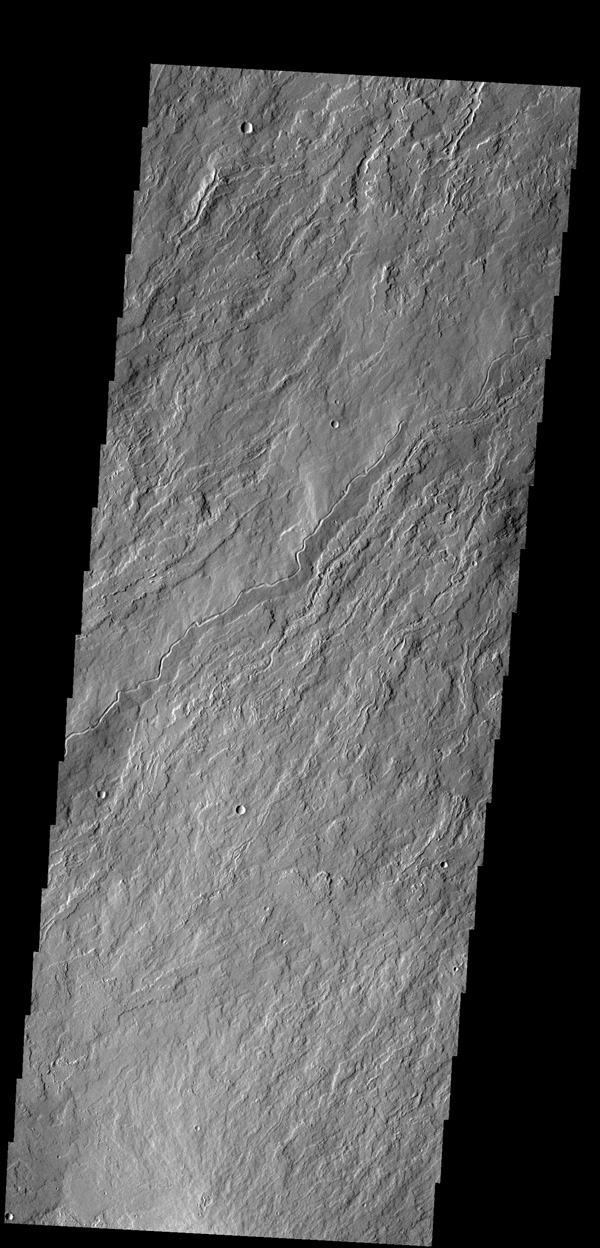 The narrow flows and channels in this image captured by NASA's 2001 Mars Odyssey spacecraft are located on the northeastern margin of Olympus Mons.