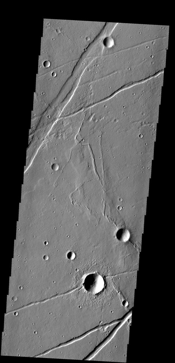 The fractures in this image from NASA's 2001 Mars Odyssey spacecraft are part of Labeatis Fossae.