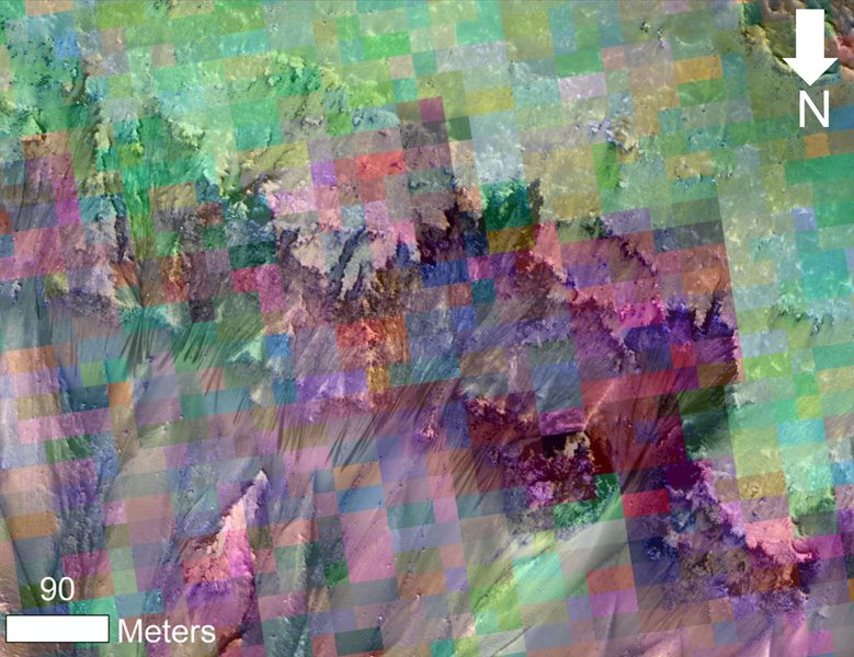 This image from NASA's Mar Reconnaissance Orbiter combines a photograph of seasonal dark flows on a Martian slope at Palikir Crater with a grid of colors based on data collected by a mineral-mapping spectrometer observing the same area.