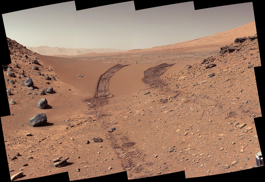 This look back at a dune that NASA's Curiosity Mars rover drove across was taken by the rover's Mast Camera (Mastcam) during the 538th Martian day, or sol, of Curiosity's work on Mars (Feb. 9, 2014).