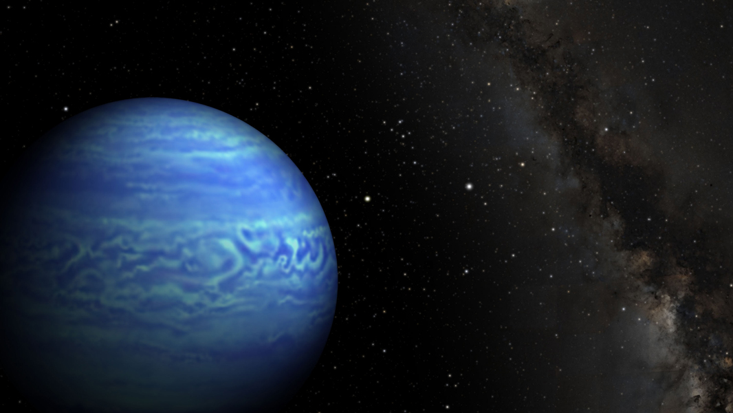 This artist's conception shows the object named WISE J085510.83-071442.5, the coldest known brown dwarf. Brown dwarfs are dim star-like bodies that lack the mass to burn nuclear fuel as stars do.