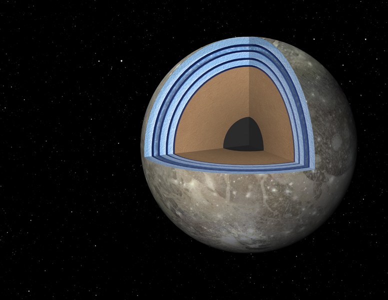 This artist's concept of Jupiter's moon Ganymede, the largest moon in the solar system, illustrates the 'club sandwich' model of its interior oceans. Scientists suspect Ganymede has a massive ocean under an icy crust.