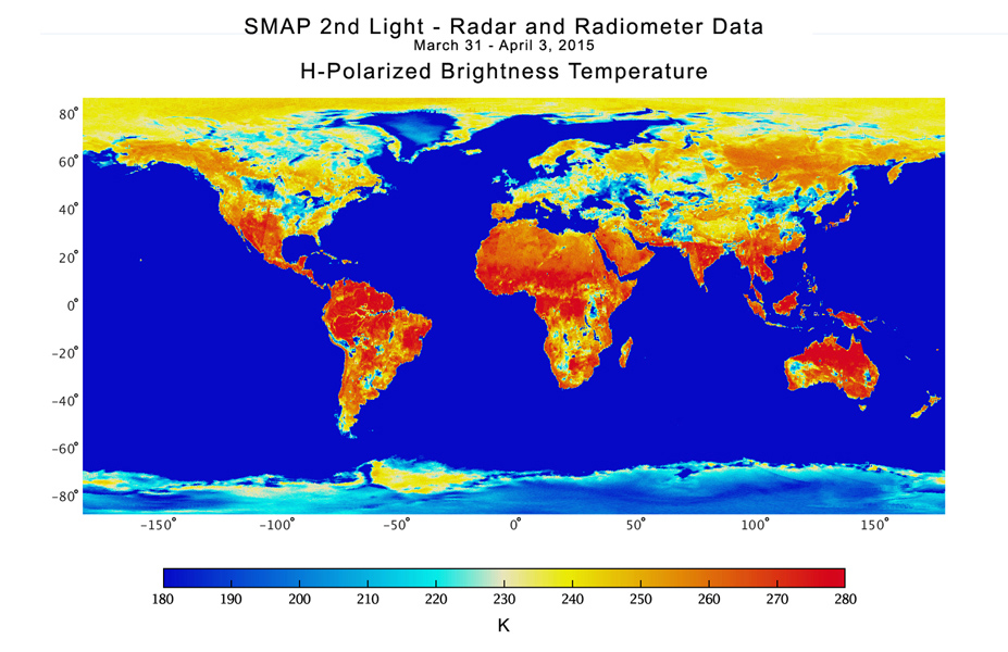 Space images nasa soil moisture mission produces first for Soil temperature map
