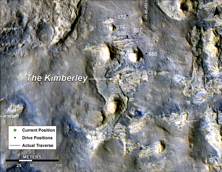 This map shows the route driven by NASA's Curiosity Mars in its approach to and April 1, 2014, arrival at a waypoint called 'the Kimberley,' which rover team scientists chose in 2013 as the location for the mission's next major investigations.