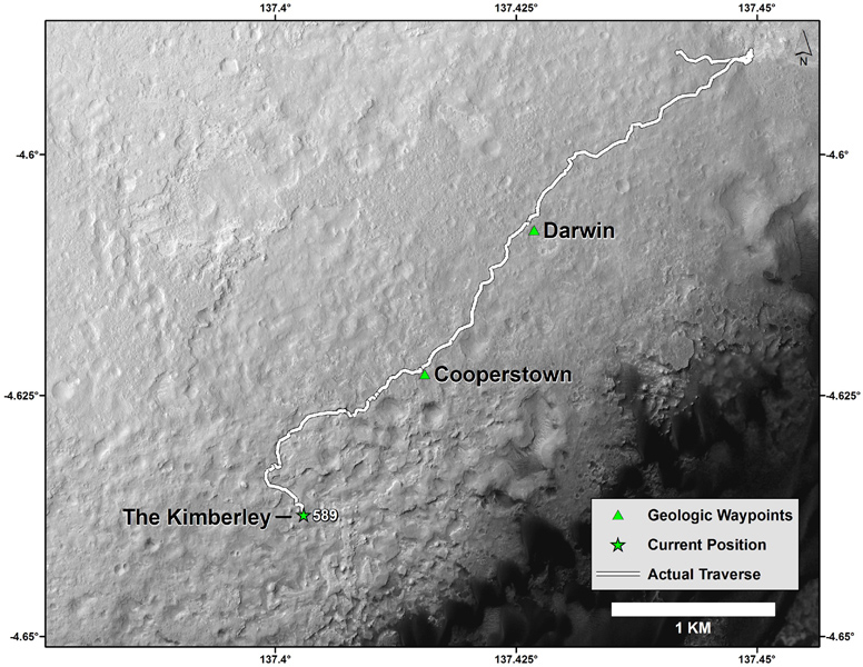 This map shows the route driven by NASA's Curiosity Mars rover from the 'Bradbury Landing' location where it landed in August 2012 (the start of the line in upper right) to a major waypoint called 'the Kimberley'.