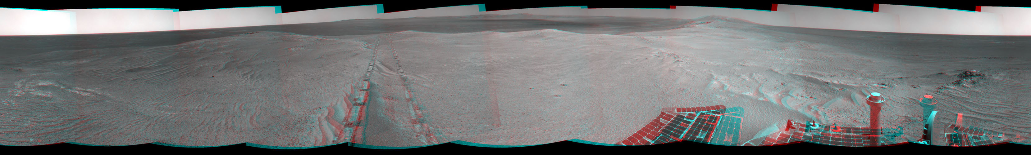 Component images for this stereo, 360-degree scene were taken byNASA's Mars Exploration Rover Opportunity after a drive of about 97 feet southeastward on April 22, 2014. You need 3D glasses to view this image.