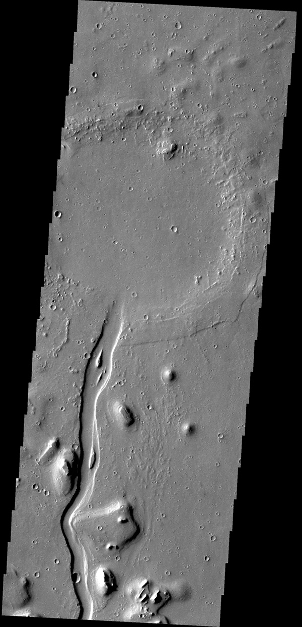 This image captured by NASA's 2001 Mars Odyssey spacecraft shows a portion of Hebrus Valles. The flow of liquid (water or lava) is from the bottom of the image into the circular feature, which was likely filled by the material from the channel.