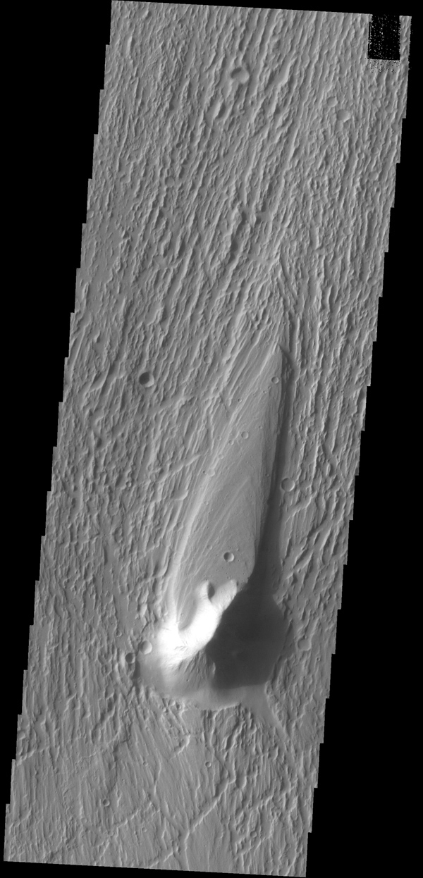 This image captured by NASA's 2001 Mars Odyssey spacecraft shows a streamlined island in Kasei Valles. The teardrop shape indicates that flow was from the bottom to the top of the image.