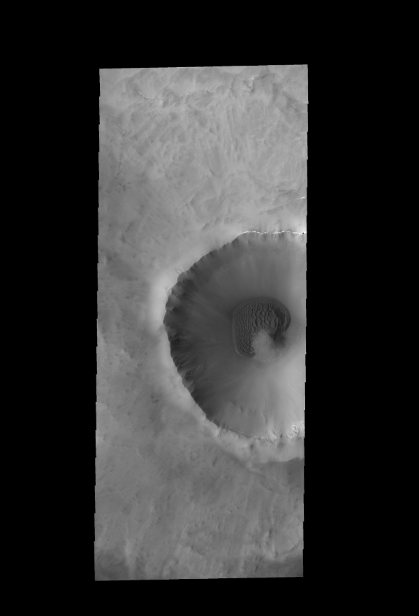 This image captured by NASA's 2001 Mars Odyssey spacecraft shows a sand sheet with a surface dune form, which partly surrounds the central peak of this unnamed crater near the north pole.