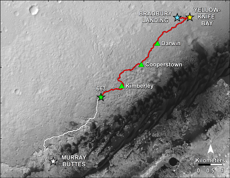 This map shows in red the route driven by NASA's Curiosity Mars rover from the 'Bradbury Landing' location where it landed in August 2012 to nearly the completion of its first Martian year. The white line shows the planned route ahead.