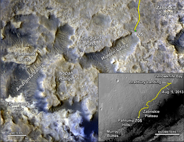 The main map shows landforms near NASA's Curiosity Mars rover as the rover's second anniversary of landing on Mars nears. The gold traverse line ends at Curiosity's position as of July 31, 2014 (Sol 705).