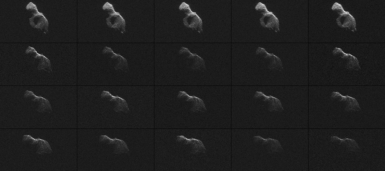 NASA scientists used Earth-based radar to produce these sharp views -- an image montage and a movie sequence -- of the asteroid designated '2014 HQ124' on June 8, 2014.