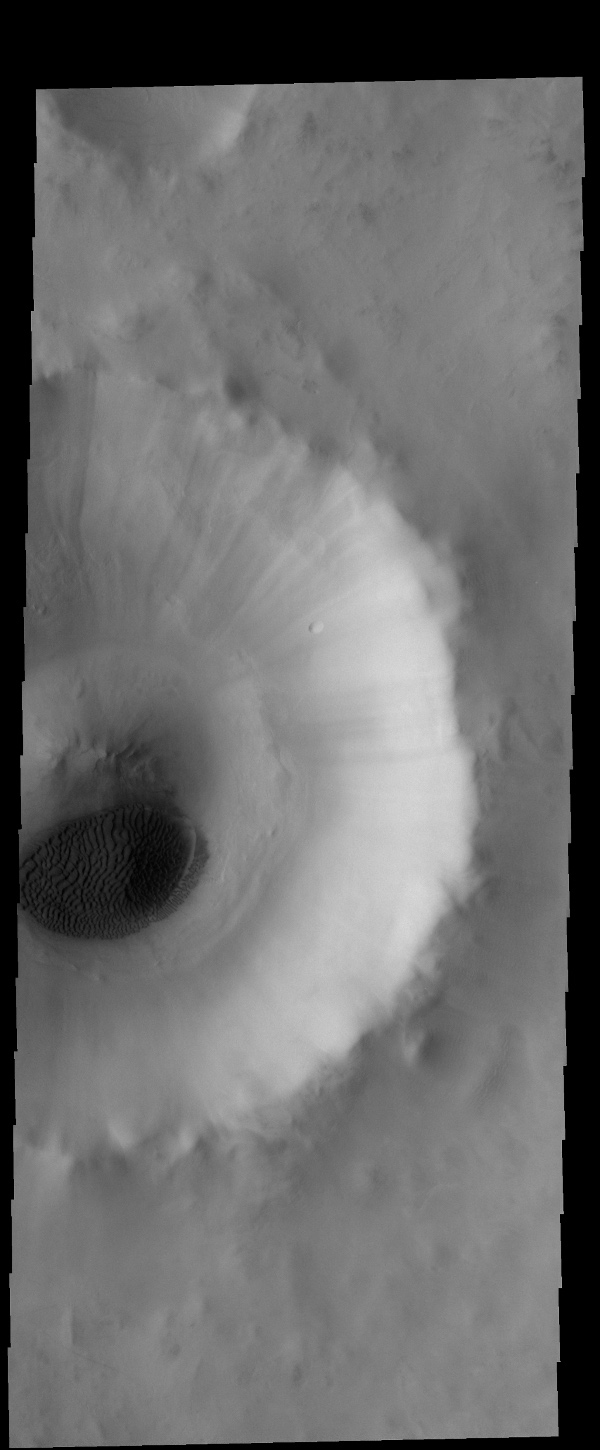 A sand sheet with surface dune forms covers part of the floor of this unnamed crater, as shown in this image from NASA's 2001 Mars Odyssey spacecraft. This crater is located in Acidalia Planitia.