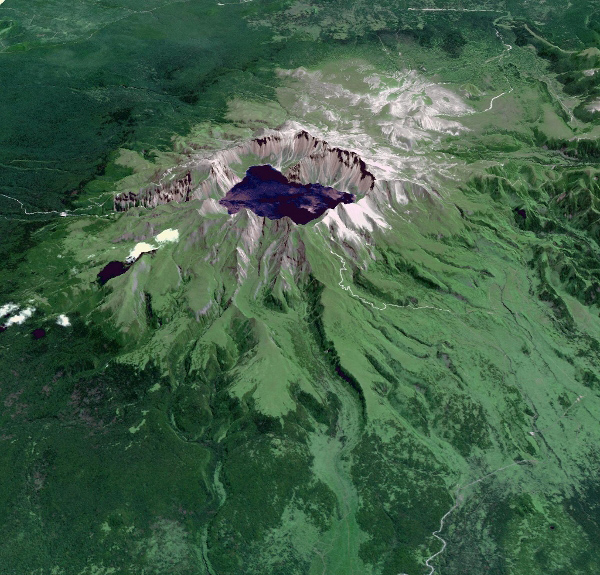 This image from NASA's Terra spacecraft shows Baektu Mountain, an active volcano on the border between North Korea and China. Rising to 2744 m, its summit caldera is filled with a crater lake, Heaven Lake.