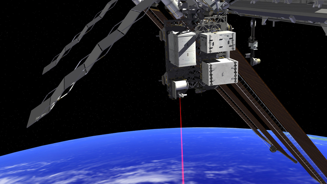 This artist's rendition shows the Optical PAyload for Lasercomm Science (OPALS) operating from the International Space Station. OPALS was launched to the station from Cape Canaveral Air Force Station in Florida on April 18, 2014.