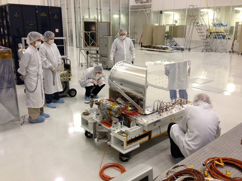 The Optical PAyload for Lasercomm Science (OPALS) undergoes final inspection prior to shipment to NASA's Kennedy Space Center. OPALS was launched to the International Space Station from Cape Canaveral Air Force Station in Florida on April 18, 2014.