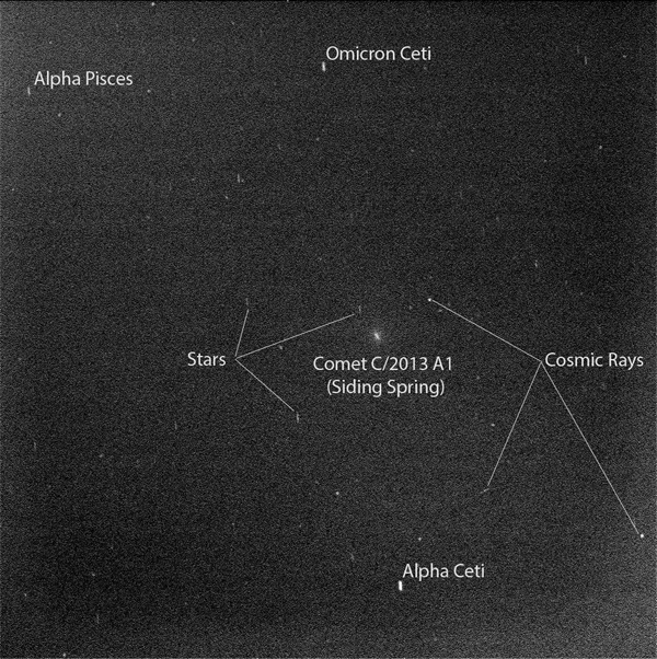 Researchers used the panoramic camera (Pancam) on NASA's Mars Exploration Rover Opportunity to capture this view of comet C/2013 A1 Siding Spring as it passed near Mars on Oct. 19, 2014.