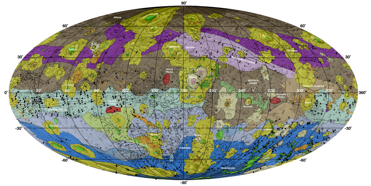 This high-resolution geological map of Vesta is derived from Dawn spacecraft data. Brown colors represent the oldest, most heavily cratered surface. Purple colors in the north and light blue represent terrains modified by the Veneneia and Rheasilvia impacts, respectively. Light purples and dark blue colors below the equator represent the interior of the Rheasilvia and Veneneia basins. Greens and yellows represent relatively young landslides or other downhill movement and crater impact materials, respectively. This map unifies 15 individual quadrangle maps published this week in a special issue of Icarus. Map is a Mollweide projection, centered on 180 degrees longitude using the Dawn Claudia coordinate system.