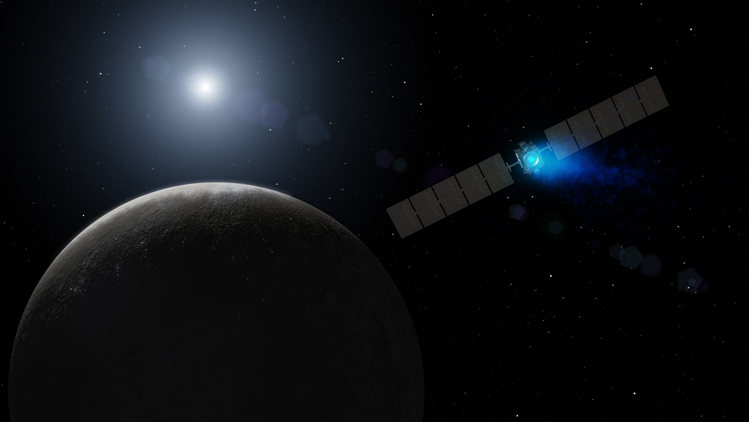 This artist's concept shows NASA's Dawn spacecraft arriving at the dwarf planet Ceres, the most massive body in the asteroid belt. Dawn is the first mission to visit a dwarf planet -- a round body that orbits the sun but, unlike a planet, does not clear its orbital path of other objects.