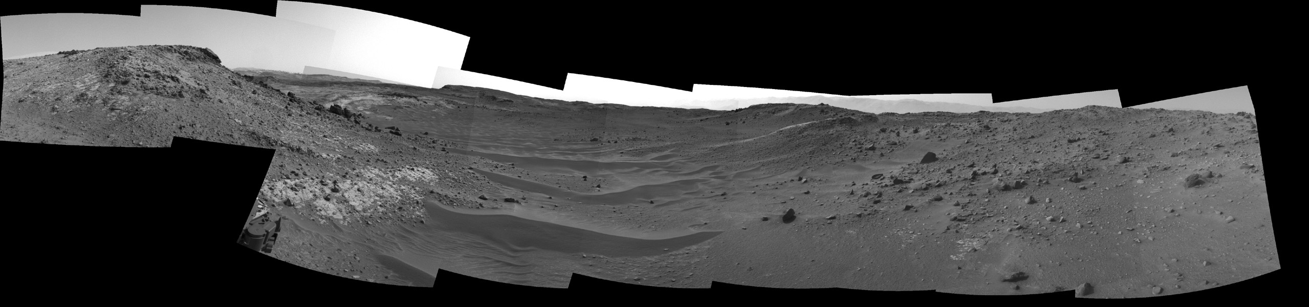 This view through a valley called 'Artist's Drive' from the Navigation Camera (Navcam) on NASA's Curiosity Mars rover shows the terrain ahead of the rover as it makes its way westward.