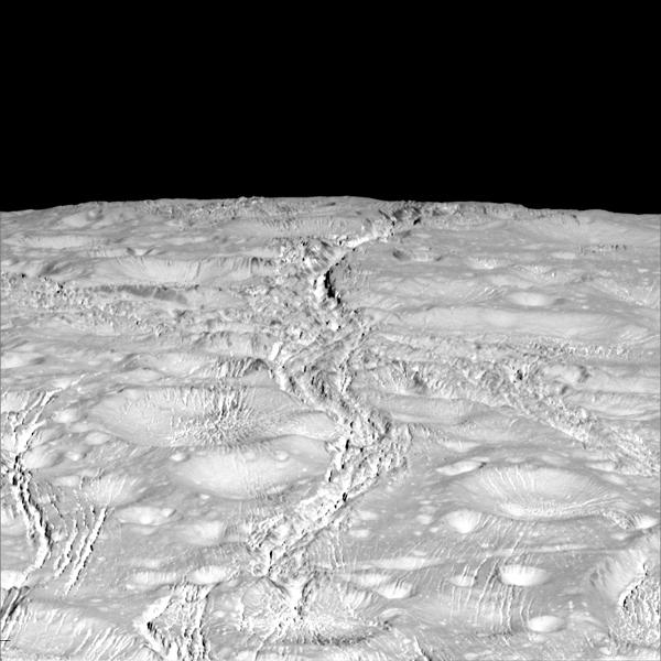 Nærbilleder af Saturn-månen Enceladus's sydpol