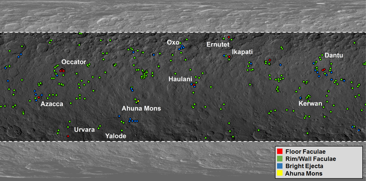 Map of Ceres' Bright Spots
