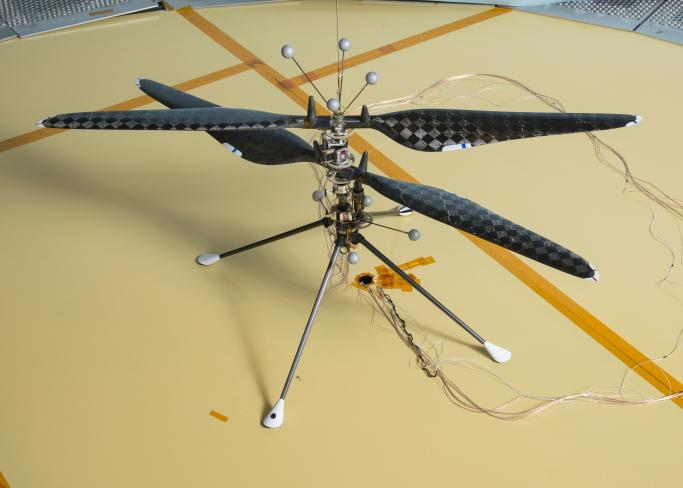 This image of NASAs Mars Helicopter prototype depicts the demonstration vehicle used to prove that controlled, and sustained flight is feasible in a Martian atmosphere.