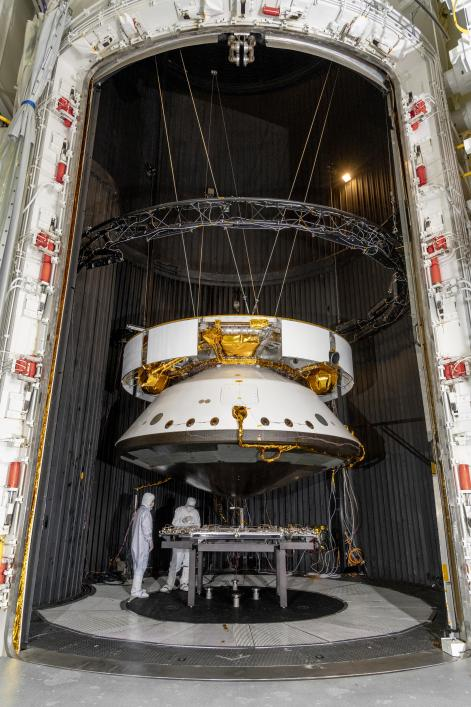 Engineers prepare the Mars 2020 spacecraft for a thermal vacuum (TVAC) test in the Space Simulator Facility at NASAs Jet Propulsion Laboratory in Pasadena, California.