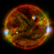Flaring Active Regions Of Our Sun Are Highlighted In This Image Combining Observations From Several