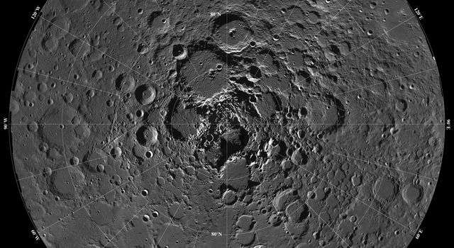 Lunar mosaic of ~1500 NASA Clementine images of the north polar region of the moon.