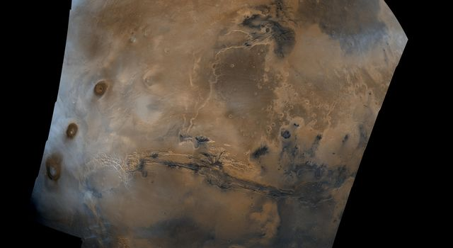 Mosaic composed of 102 NASA Viking Orbiter images of Mars, covering nearly a full hemisphere of the planet (approximate latitude -55 to 60 degrees, longitude 30 to 130 degrees).