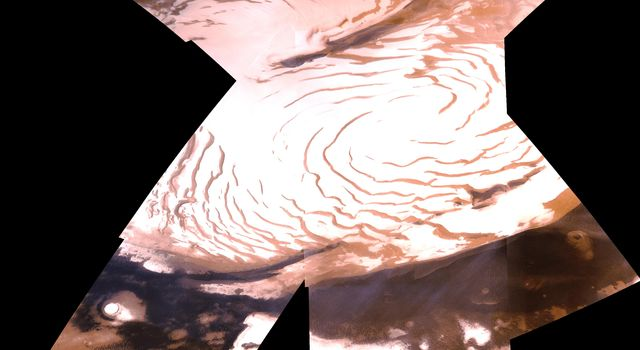 Shown here is an oblique view of the polar region, as seen with NASA's Viking 1 spacecraft orbiting Mars over latitude 39 degrees north.