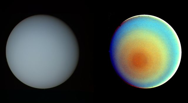 These two images of Uranus, one in true color and the other in false color, were compiled from images returned in 1986, by the narrow-angle camera of NASA's Voyager 2.