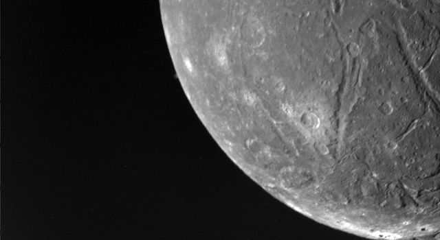This picture is part of NASA's Voyager 2 imaging sequence of Ariel, a moon of Uranus taken on January  24, 1986. The complexity of Ariel's surface indicates that a variety of geologic processes have occurred.