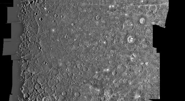 This computer generated mosaic from NASA's Mariner 10 is of Mercury's Tolstoj Quadrangle, named for the ancient Tolstoj crater located in the lower center of the image.