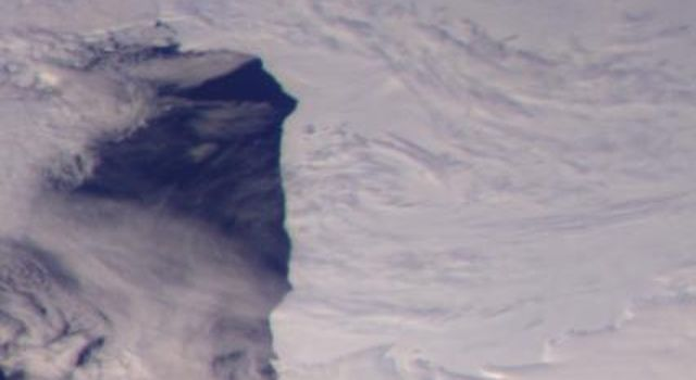 This color picture of the Ross Ice Shelf, Antarctica was taken NASA's Galileo camera about 6:20 p.m. PST on December 8, 1990.